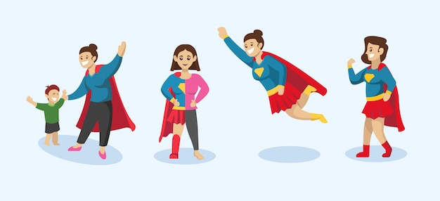 Set of super mom, mother design illustration with superhero pose