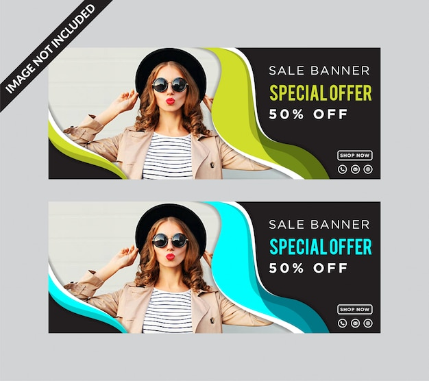 Set of super sale special offer horizontal banner