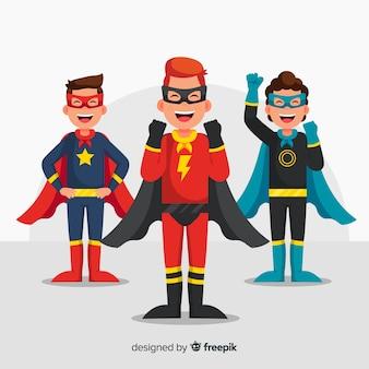 Set of superhero kids