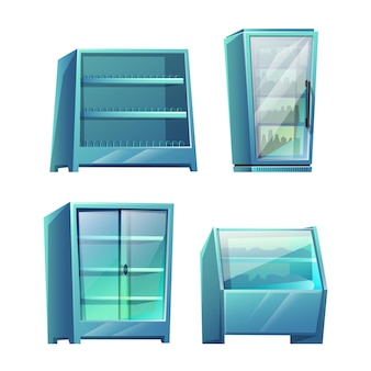 Set of supermarket storage shelves isolated on white