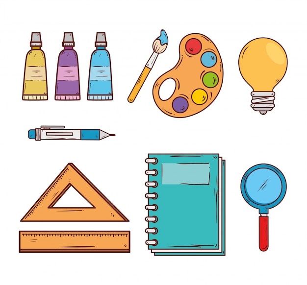 Set of supplies education icons