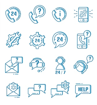 Set of support, help and customer service icons with outline style