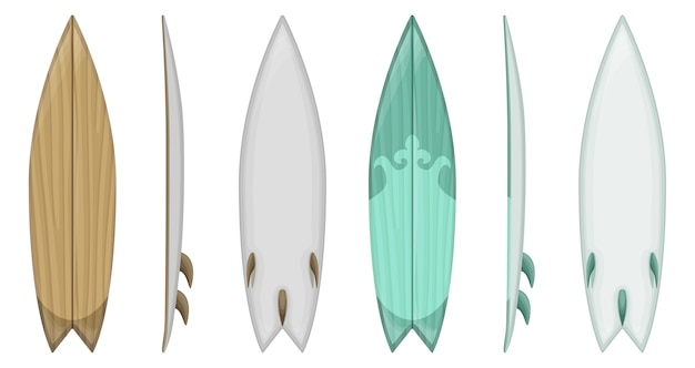 Set of surfboard isolated on white