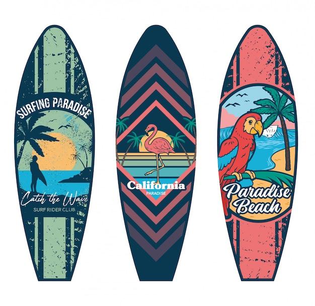 서핑 타기 또는 장식을 위해 서핑 보드 인쇄 디자인을 설정하십시오.