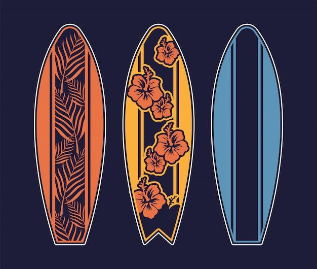 Set surfboard print design for surfing ride or decor.
