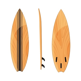 Set of surfboards position isolated on white .