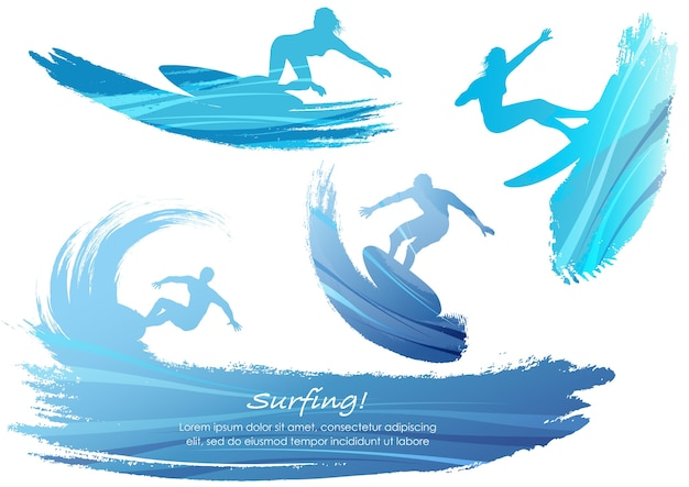 Set of surfing silhouettes vector illustration isolated