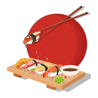 Set sushi. chopsticks, wasabi, soy sauce, nigiri, rolls and wood serving board. color vector flat cartoon illustration isolated on red sun. for icon and menu.