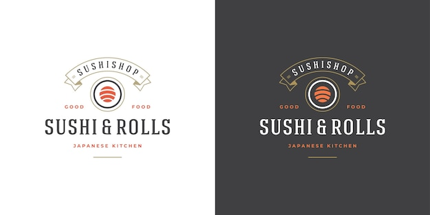 Set of sushi and japanese restaurant logos