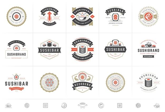 Set of sushi and japanese restaurant logos