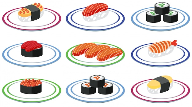 Set of sushi on plate