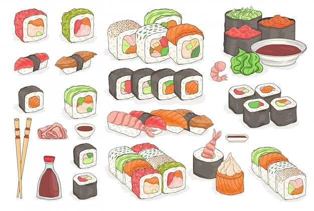 Set of sushi, rolls, wasabi, soy sauce, ginger, chopsticks. traditional japanese seafood dishes. hand drawn elements,   colorful illustration collection.