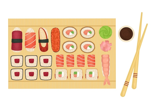 Set of sushi and rolls on a wooden board with soy sauce, wasabi and ginger. japanese food.