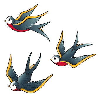 Set of the swallow icons.  elements for poster, t-shirt.  illustration.