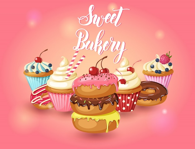 Set of sweet bakery. vector glazed donuts, cupcakes with cherry, strawberries and blueberries on pink