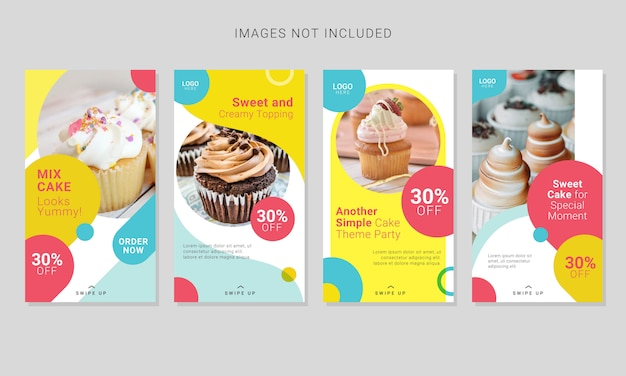 Set of sweet cake stories social media post template