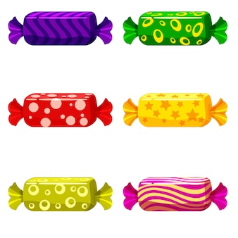 A set of sweet candies in a package of different colors