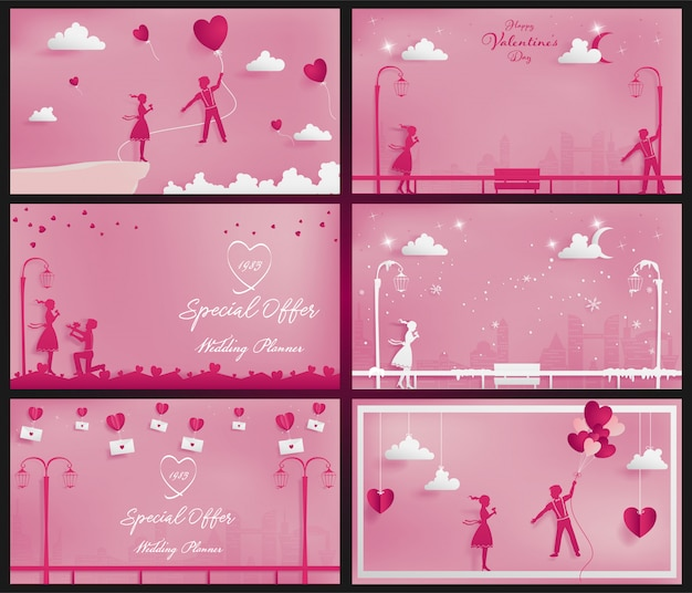 A set of sweet couple background on the pink theme as paper craft style
