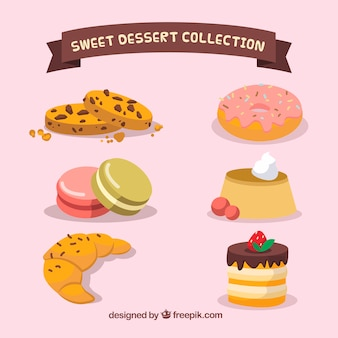 Set of sweet desserts in 2d style