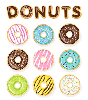 Set of sweet donuts on the white .  food illustration.