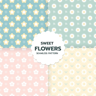 Set of sweet flower seamless pattern in cute style art