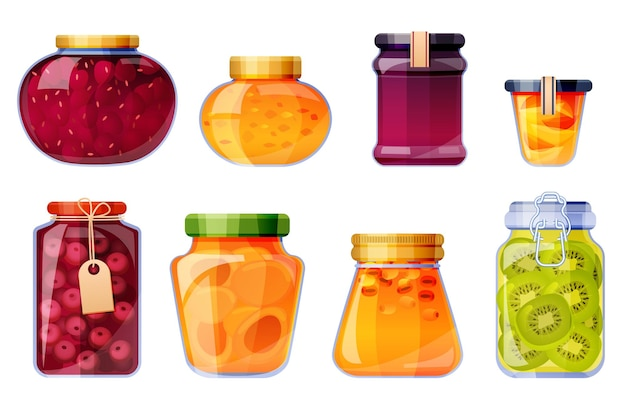 Set of sweet fruit conserves on glass jars isolated illustration