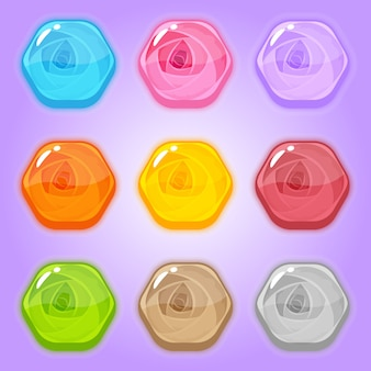 Set sweet icon rose in hexagon shaped.