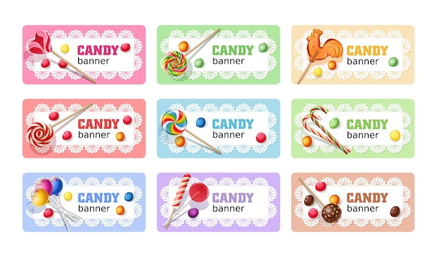 Set of sweet lollipop vector banners.