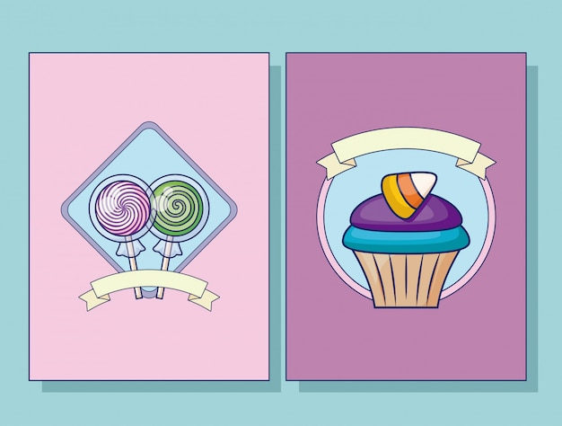 Set of sweet lollipops card set and cupcake