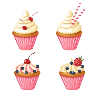 Set of sweet pink cupcakes. pastries decorated with cherry, strawberries, blueberries, sweets.
