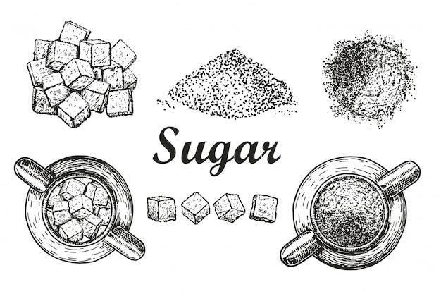 달콤한 세련된 크리스탈 설탕과 설탕을 벌크 흰색 배경으로 설정하십시오. 커피, 차 성분. 설탕 그릇에 설탕. 스케치 스타일 일러스트. 손으로 그린 요소 프리미엄 벡터