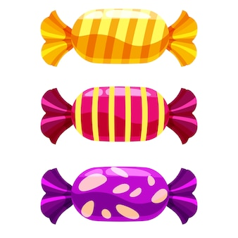 Set of sweets candy on white .  illustration