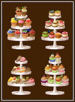 Set of sweets on plates. vector illustration
