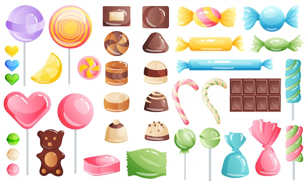 Set of sweets on white