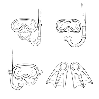 Set of swimming goggles with line art or sketchy style