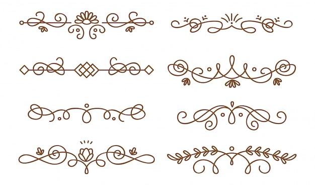 Set of swirly decorative dividers