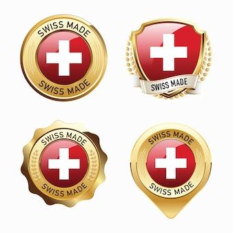 Set of swiss made badges