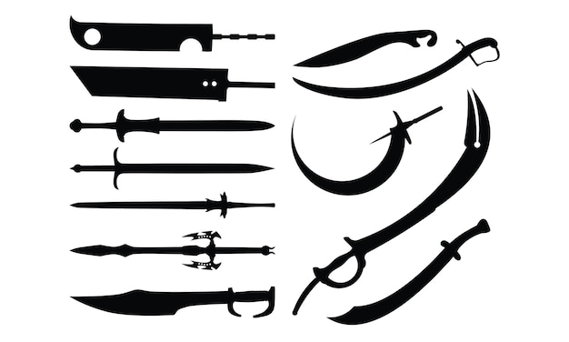 Set of sword silhouette collection