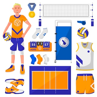 Set of symbols logos and icons of volleyball.