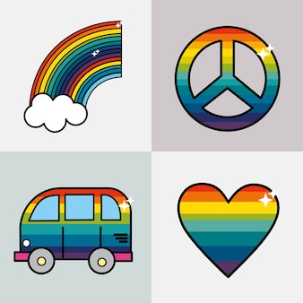Set symbols to representative the hippies