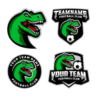Set of t rex head mascot logo for the football team logo.  .