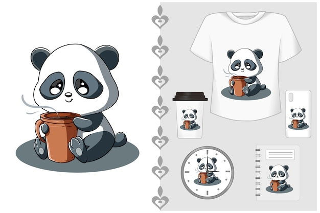 Set t shirt and merchandising, little panda with coffee