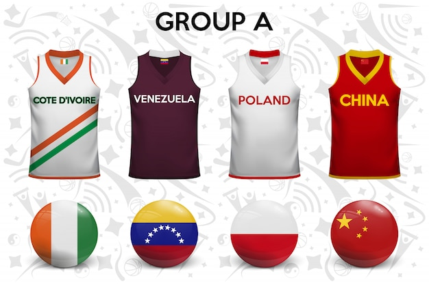 Set of t-shirts and flags of the national teams.