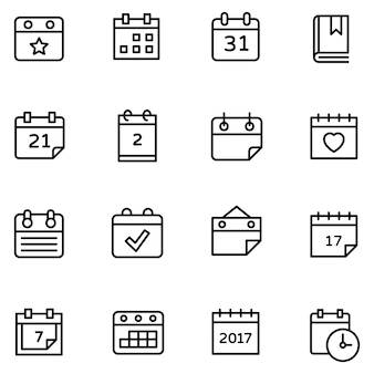 Set of table calendar icons