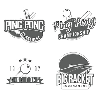Set of table ping pong design elements