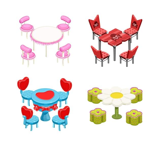 격리 설정 테이블과 의자 두개골과 로맨틱 모피 카밀레