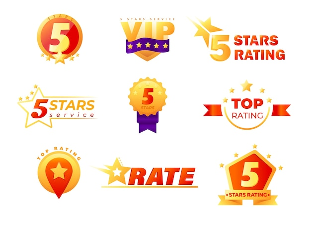Set of tags and labels for vip service rating