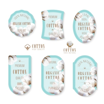 Set of tags and logo for cotton manufacture