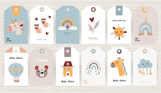 Set of tags with baby items for girl and boy illustration
