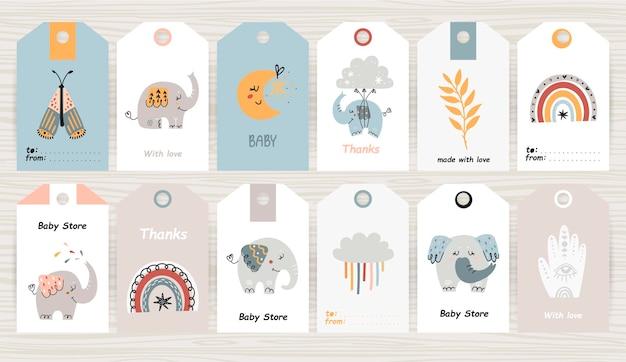 Set of tags with bohemian elephants